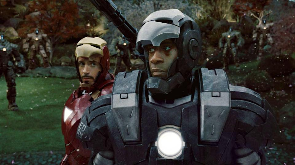 "<p> Iron Man 2 lacks the fun and freshness of the first movie and it's certainly the weakest of all the Shellhead films. It's nothing more than an acceptable follow-up whose main claim to fame is that it features Mickey Rourke wielding electric whips. This is where we see Tony Stark's fall from grace, as he faces personal demons relating to his love life and alcohol – Iron Man 2 riffs heavily on the classic ""Demon in a Bottle"" storyline from the comics. It's also the film where we first meet Black Widow, and Rhodey (Don Cheadle replacing Terrence Howard) makes good on his ""Next time, baby"" promise from the first movie by donning the War Machine armour, expanding on a friendship that will become a mainstay of the MCU. The main conflict storyline is pretty forgettable and ultimately everything feels subservient to setting up The Avengers. </p>"