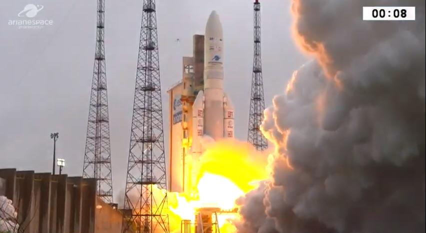 An Arianespace Ariane 5 rocket carrying the SG-1/HS-4 and GSAT-31 satellites launched into space from the Guiana Space Center in Kourou, French Guiana on Feb. 5, 2019. <cite>Arianespace</cite>