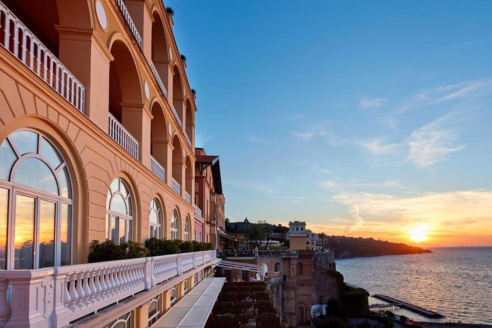 Waterside exterior of the Grand Hotel Excelsior Vittoria, voted one of the best hotels in the world