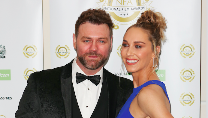 Brian McFadden and Danielle Parkinson attend the National Film Awards 2019 at Porchester Hall in London. (Photo by Brett Cove/SOPA Images/LightRocket via Getty Images)