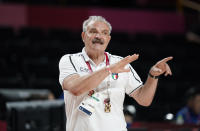 Italy head coach Meo Sacchetti gestures during men's basketball preliminary round game against Germany at the 2020 Summer Olympics, Sunday, July 25, 2021, in Saitama, Japan. (AP Photo/Charlie Neibergall)