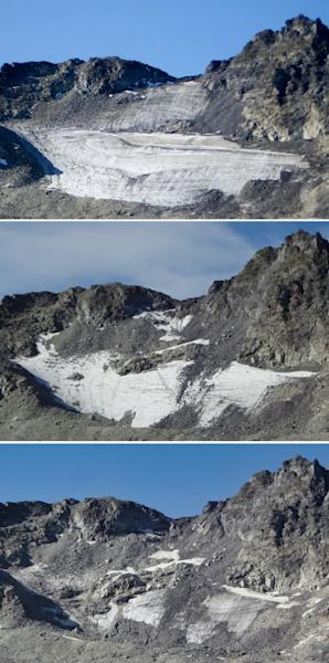 This combinaison of three handout pictures taken (From top) Summer 2006, August 2017 and September 2019 shows the now vanished Pizol glacier in the Swiss Alps