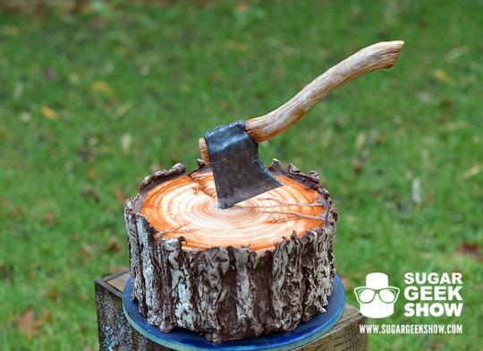 "<p>Elizabeth Marek of the Portland, Ore.-based <a href=""http://artisancakecompany.com/"">Artisan Cake Company</a> has created the cake of every lumberjack's (and lumberjack lover's) dreams. <i>(Photo: <a href=""https://sugargeekshow.com/news/this-lumberjack-tree-trunk-cake-looks-cozy-on-the-inside"">Sugar Geek Show</a>)</i><br /></p>"