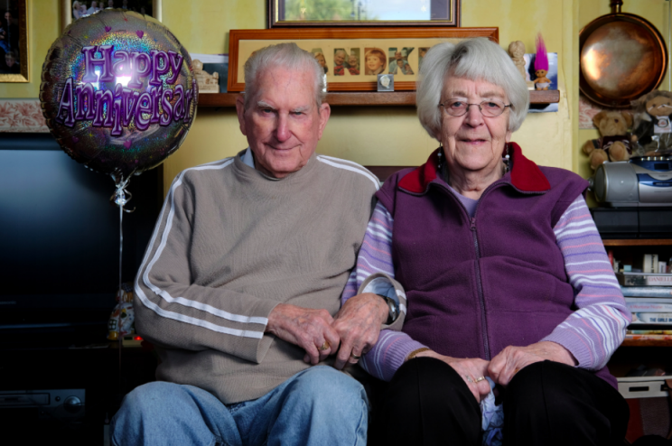 Loved-up: The couple married in 1947 and celebrated their platinum anniversary this week (SWNS)