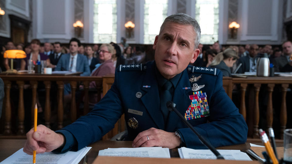 Steve Carell as General Mark Naird in 'Space Force'. (Credit: Aaron Epstein/Netflix)