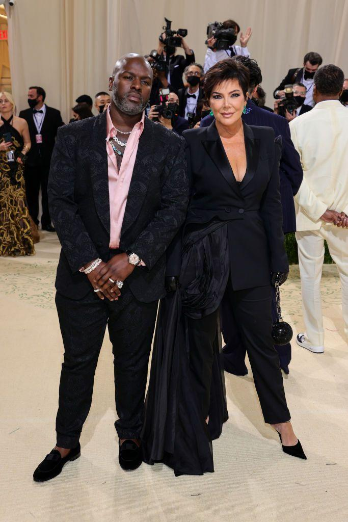 <p>Kris Jenner walked the red carpet with partner Corey Gamble in matching black suits.</p>