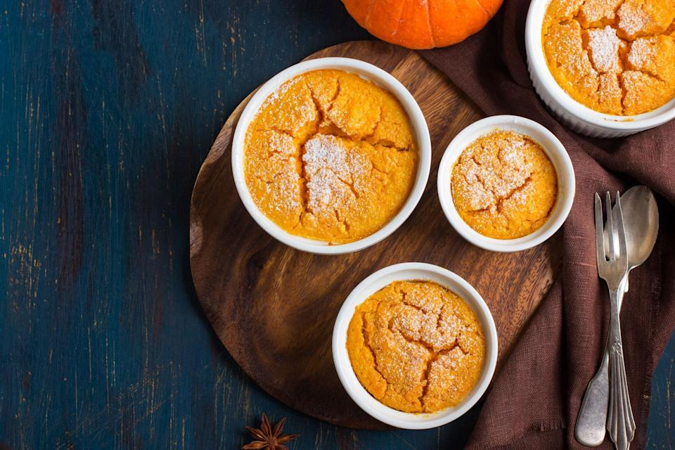 """If you're looking for sweet-but-dairy-free pumpkin purée recipes, this is the one. It's made with soy milk, which is <a href=""""https://www.epicurious.com/expert-advice/in-my-house-nothing-can-dethrone-edensoy-soy-milk-article?mbid=synd_yahoo_rss"""" rel=""""nofollow noopener"""" target=""""_blank"""" data-ylk=""""slk:more than just a health move"""" class=""""link rapid-noclick-resp"""">more than just a health move</a>: it also gives the finished dessert a nutty flavor. <a href=""""https://www.epicurious.com/recipes/food/views/ginger-pumpkin-souffle-233086?mbid=synd_yahoo_rss"""" rel=""""nofollow noopener"""" target=""""_blank"""" data-ylk=""""slk:See recipe."""" class=""""link rapid-noclick-resp"""">See recipe.</a>"""
