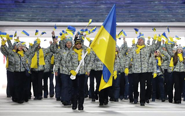 Valentina Shevchenko of Ukraine carries the national flag as she leads the team during the opening ceremony of the 2014 Winter Olympics in Sochi, Russia, Friday, Feb. 7, 2014. (AP Photo/Mark Humphrey)