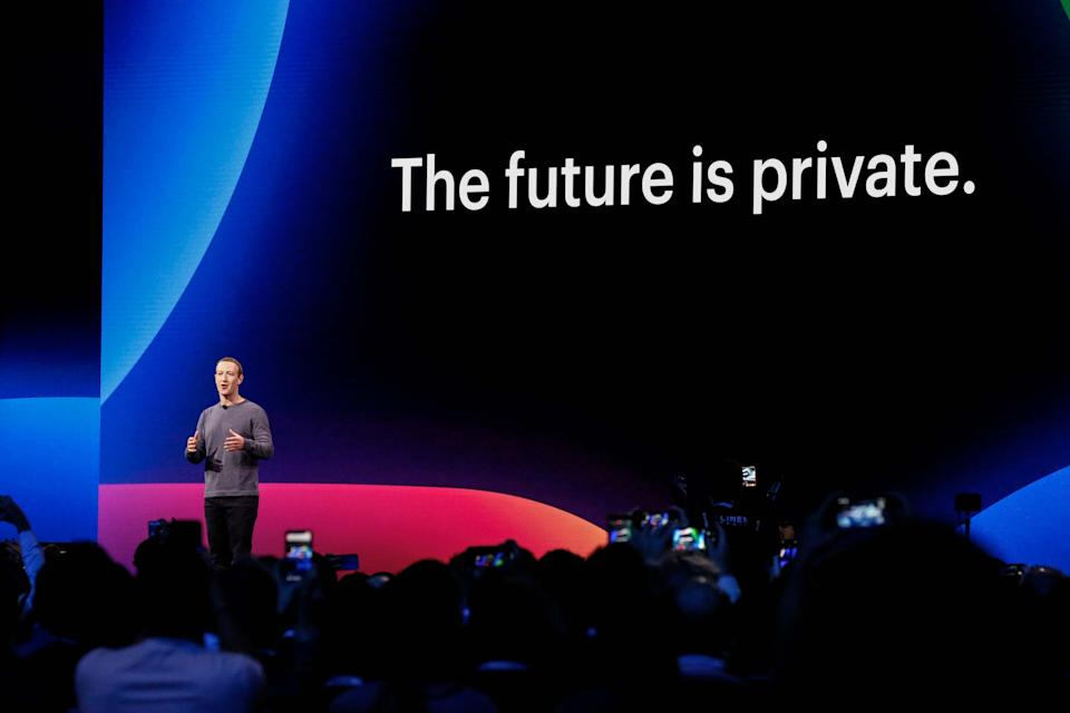 Facebook CEO Mark Zuckerberg delivers the opening keynote introducing new Facebook, Messenger, WhatsApp, and Instagram privacy features at the Facebook F8 Conference at McEnery Convention Center in San Jose, California on April 30, 2019. - Got a crush on another Facebook user? The social network will help you connect, as part of a revamp unveiled Tuesday that aims to foster real-world relationships and make the platform a more intimate place for small groups of friends. (Photo by Amy Osborne / AFP)        (Photo credit should read AMY OSBORNE/AFP/Getty Images)
