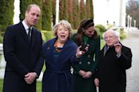 The duke and duchess are charmed by President Michael D Higgins and his wife Sabina Coyne, in Dublin. (Press Association)