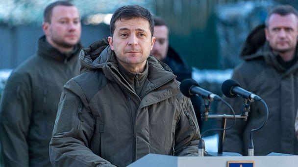 PHOTO: Ukrainian President Volodymyr Zelenskiy delivers a speech during a ceremony marking the Day of the Armed Forces in Donetsk region, Ukraine, on Dec. 6, 2019. (Ukrainian Presidential Press Service via Reuters)