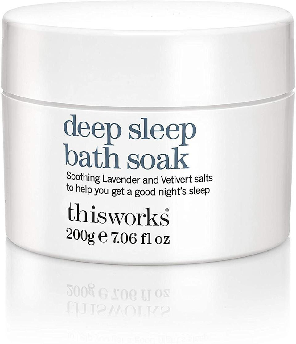 <p>Stress and anxiety will melt away when you unwind in this moisturizing, lavender-infused <span>ThisWorks Deep Sleep Bath Soak</span> ($33). Think of it as self-care <em>and</em> skincare.</p>