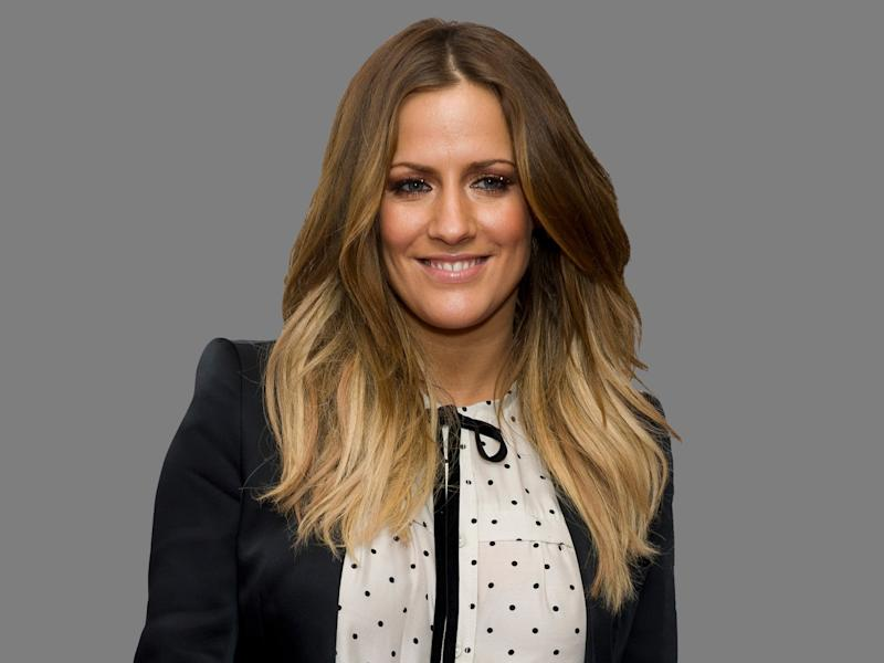 Caroline Flack headshot, British TV host, graphic element on gray