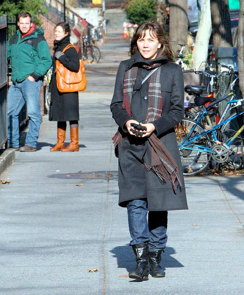 "Maggie is currently shooting the latest installment in the ""Batman"" franchise with Christian Bale starring as ""The Dark Knight."" When Katie Holmes chose not to reprise her role as Rachel Dawes, Ms. Gyllenhaal jumped at the chance to join forces with the Caped Crusader. JSB/<a href=""http://www.x17online.com"" target=""new"">X17 Online</a> - December 11, 2007"