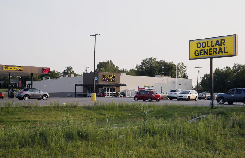 This Aug. 3, 2017 photo shows the Dollar General store, that took over the closed Walmart Express in Luther, Okla., Thursday, Aug. 3, 2017. Less than a year after opening its new concept stores known as Walmart Express, the retail giant shuttered the smaller stores intended to compete with dollar stores when they failed to gain traction nationwide. Small towns like Luther are now trying to fill budget gaps to make up for lost sales tax revenue now that Walmart has pulled out. (AP Photo/Sue Ogrocki)