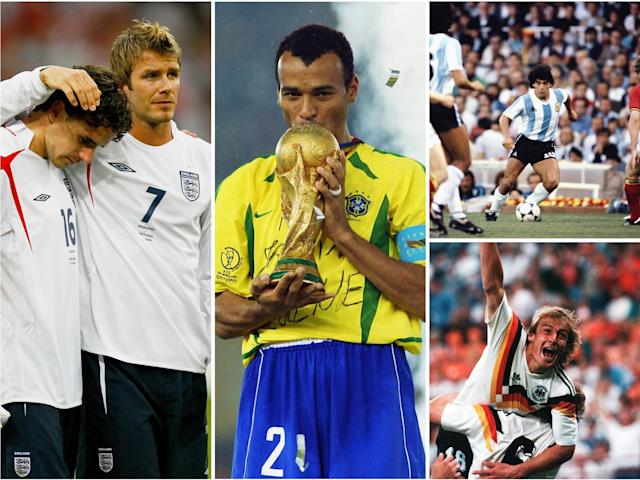 David Beckham, Owen Hargreaves, Cafu, Diego Maradona and Jurgen Klinsmann are shown in a composite image illustrating the history of the World Cup: Getty Images