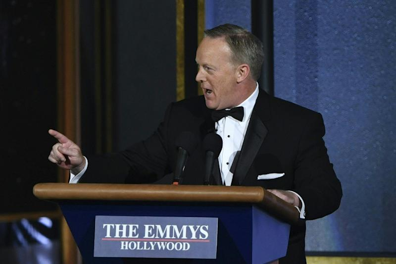 The much-maligned former White House press secretary Sean Spicer delighted the Emmys audience with a surprise appearance (AFP Photo/Frederic J. Brown)