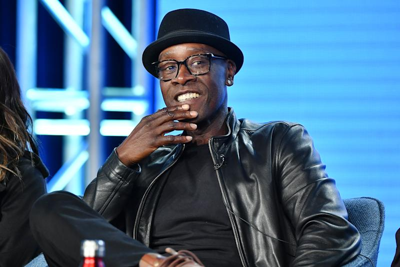 """PASADENA, CALIFORNIA - JANUARY 13: Don Cheadle of """"Black Monday"""" speaks during the Showtime segment of the 2020 Winter TCA Press Tour at The Langham Huntington, Pasadena on January 13, 2020 in Pasadena, California. (Photo by Amy Sussman/Getty Images)"""