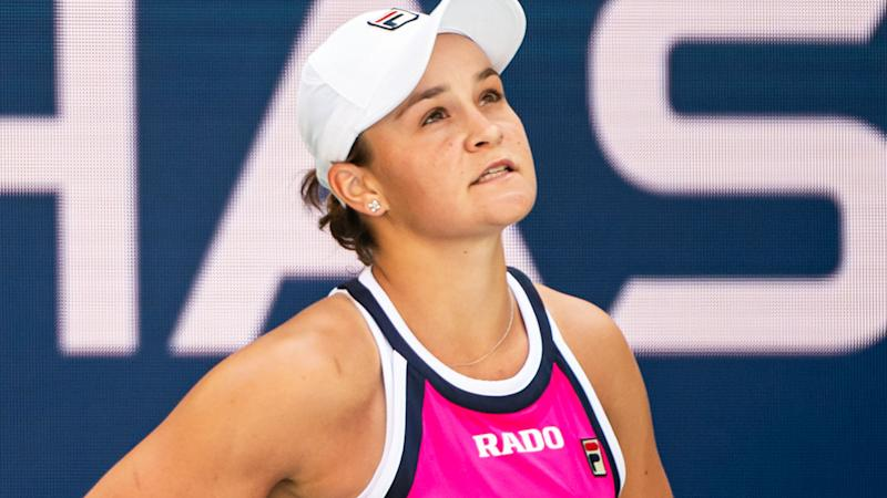 Ashleigh Barty, pictured here during the first round of the US Open.