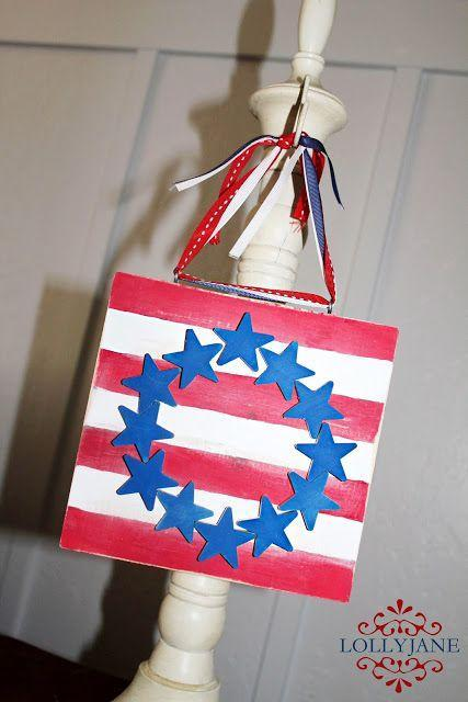 """<p>Turn an eight-square-inch piece of wood into a work of art you can hang up every Independence Day for years to come. </p><p><strong><em>Get the tutorial from <a href=""""https://lollyjane.com/stars-stripes-plaque/"""" rel=""""nofollow noopener"""" target=""""_blank"""" data-ylk=""""slk:Lolly Jane"""" class=""""link rapid-noclick-resp"""">Lolly Jane</a>. </em></strong></p>"""