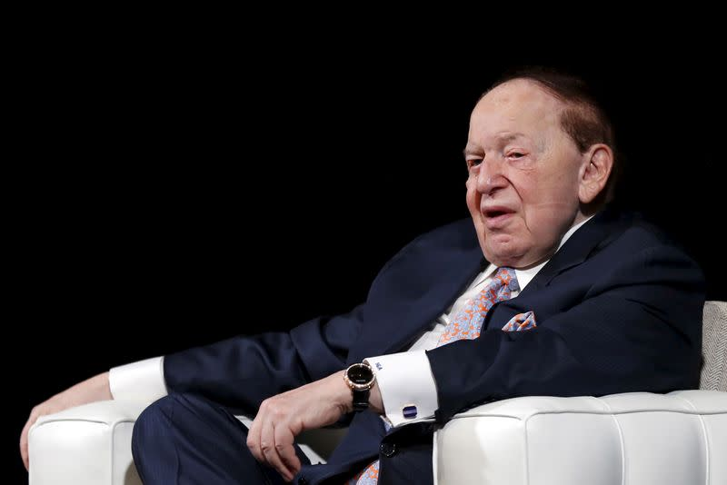 FILE PHOTO: Gambling giant Las Vegas Sands Corp's Chief Executive Sheldon Adelson speaks during a news conference in Macau, China