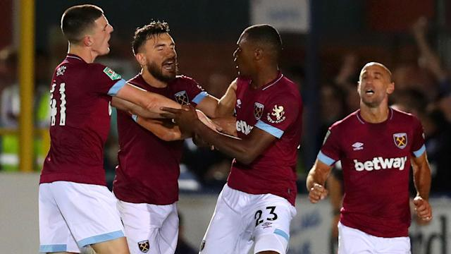 West Ham edged past 10-man Wimbledon 3-1 in the Carabao Cup