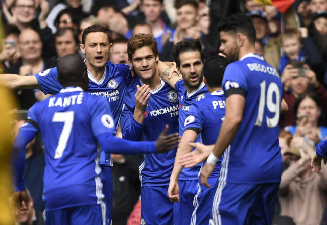 "<p>Britain Soccer Football – Chelsea v Crystal Palace – Premier League – Stamford Bridge – 1/4/17 Chelsea's Cesc Fabregas celebrates with team mates after scoring their first goal Action Images via Reuters / Tony O'Brien Livepic EDITORIAL USE ONLY. No use with unauthorized audio, video, data, fixture lists, club/league logos or ""live"" services. Online in-match use limited to 45 images, no video emulation. No use in betting, games or single club/league/player publications. Please contact your account representative for further details. </p>"