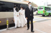 Samsung Group heir Jay Y. Lee arrives for the funeral send-off held for late Samsung chairman Lee Kun-hee, at a hospital in Seoul