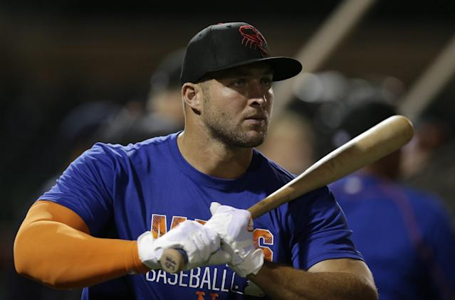 Tim Tebow got his first career walk-off hit on Monday night. (AP)