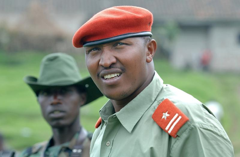 Bosco Ntaganda, pictured in 2009 at his base in Kabati, Kenya, is trial before the International Criminal Court accused of war crimes including the rape of child soldiers by his rebel army (AFP Photo/Lionel Healing)