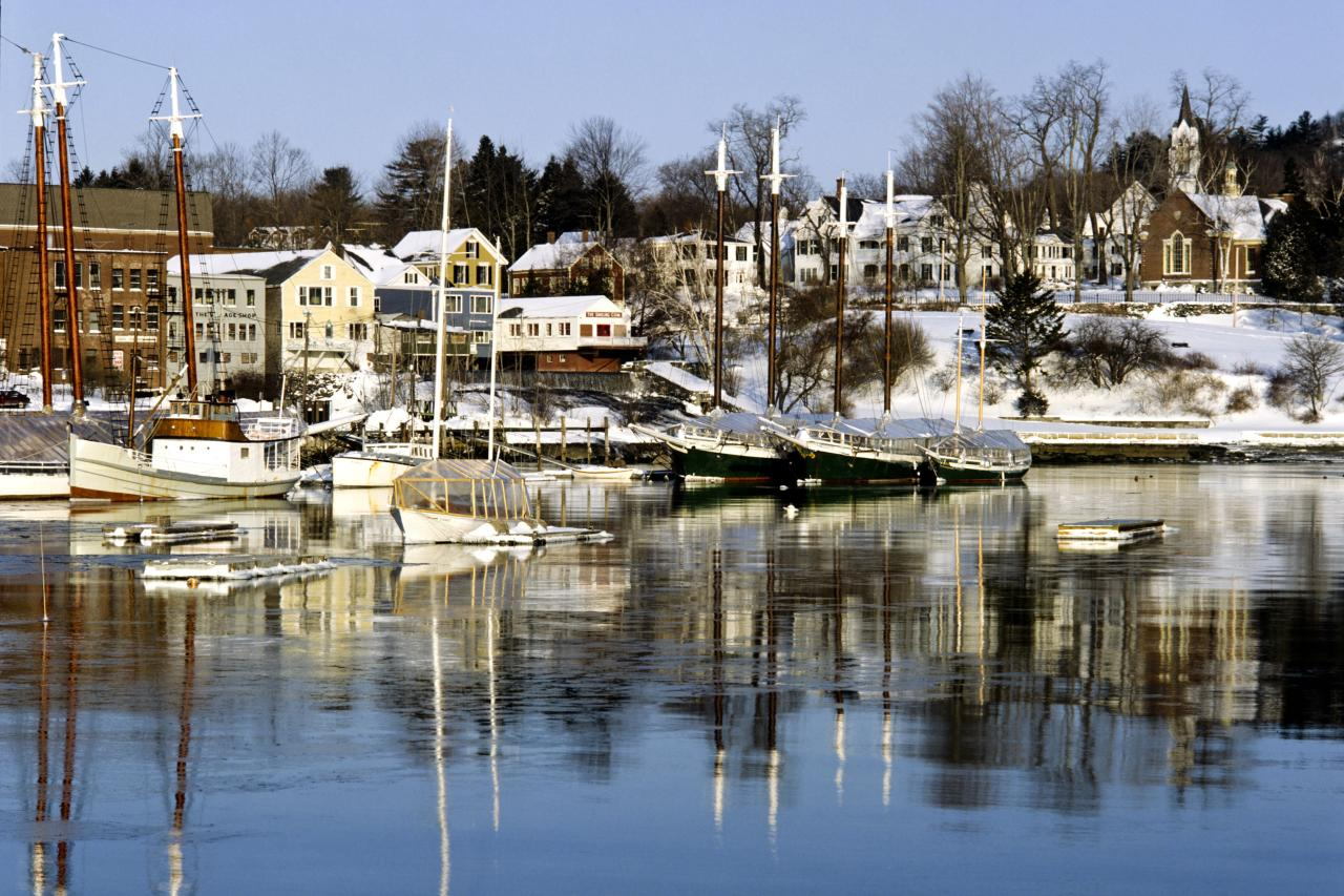 "<p>If your ideal winter beach town includes, well, winter, head north to <a href=""http://www.camdenmaine.gov/"" target=""_blank"">Camden,</a> where the 20 ski trails and the historic Jack Williams Toboggan Chute at the <a href=""http://www.camdensnowbowl.com/"" target=""_blank"">Camden Ski Bowl</a> come with an ocean view. The ski area helps keep the shops of Camden's downtown lively even in midwinter, and foodies may just want to stick around for the start of the spring thaw: <a href=""http://www.mainerestaurantweek.com/"" target=""_blank"">Maine Restaurant Week</a> and <a href=""http://mainemapleproducers.com/about-maine-maple-sunday/"" target=""_blank"">Maine Maple Sunday</a> both come to Camden in March.</p>"