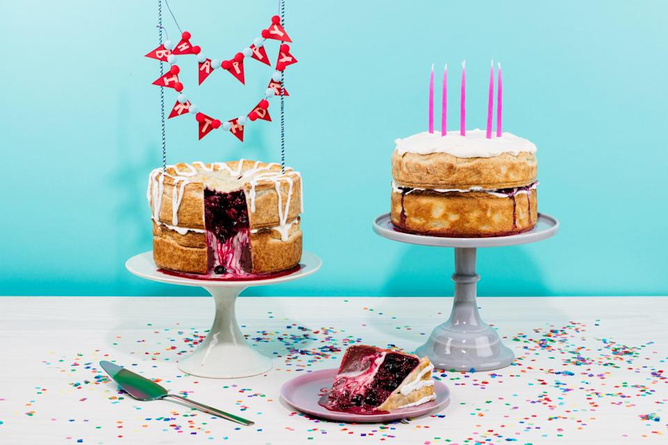 """Not everyone wants birthday cake. This double-decker pie features two stacked flavors in a stunning presentation that is just as celebratory as birthday cake. <a href=""""https://www.epicurious.com/recipes/food/views/double-decker-chocolate-and-cherry-raspberry-birthday-pie?mbid=synd_yahoo_rss"""" rel=""""nofollow noopener"""" target=""""_blank"""" data-ylk=""""slk:See recipe."""" class=""""link rapid-noclick-resp"""">See recipe.</a>"""