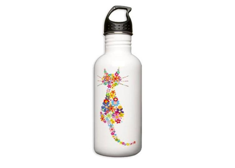 "<p>Because hydration. (<a href=""http://www.cafepress.com/+cat_and_flowers_stainless_water_bottle_10l,1204173716"">$19.99 on CafePress</a>)</p>"