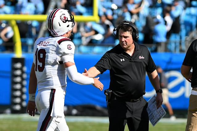 South Carolina quarterback Jake Bentley is out for the season after injuring his foot in Week 1. (Photo by Dannie Walls/Icon Sportswire via Getty Images)