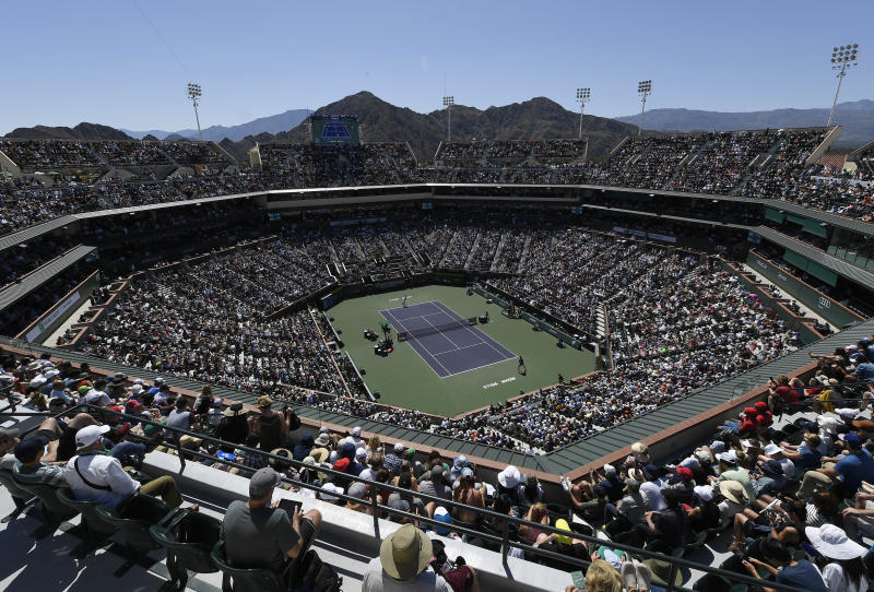 INDIAN WELLS, CA - MARCH 16: General View of Stadium 1 during the men's singles semifinal match between Milos Raonic of Canada and Dominic Thiem of Austria on day thirteen of the BNP Paribas Open at the Indian Wells Tennis Garden on March 16, 2019 in Indian Wells, California. (Photo by Kevork Djansezian/Getty Images)