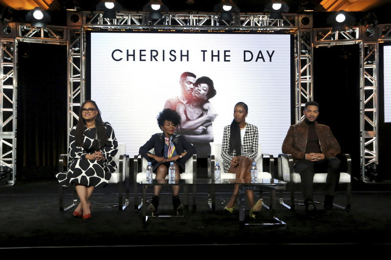 """CORRECTS DAY OF WEEK AND DATE - Ava DuVernay, from left, Cicely Tyson, Xosha Roquemore and Alano Miller appear at the OWN: Oprah Winfrey Network's """"Cherish the Day"""" during the Discovery Network TCA 2020 Winter Press Tour at the Langham Huntington on Thursday, Jan. 16, 2020, in Pasadena, Calif. (Photo by Willy Sanjuan/Invision/AP)"""
