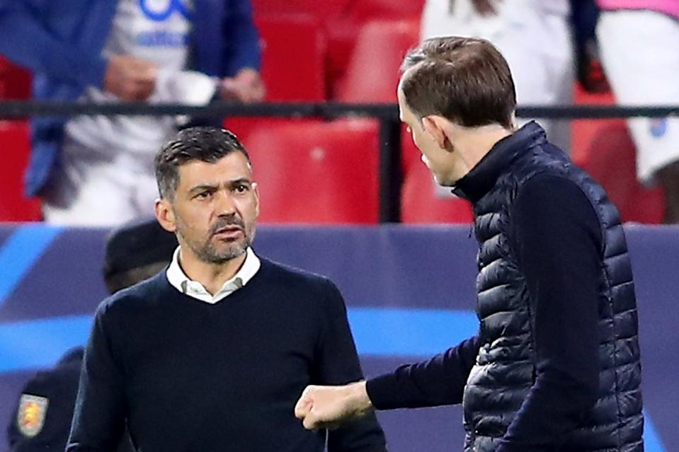 <p>Sergio Conceicao and Thomas Tuchel argued after the full-time whistle in Seville</p> (Getty Images)