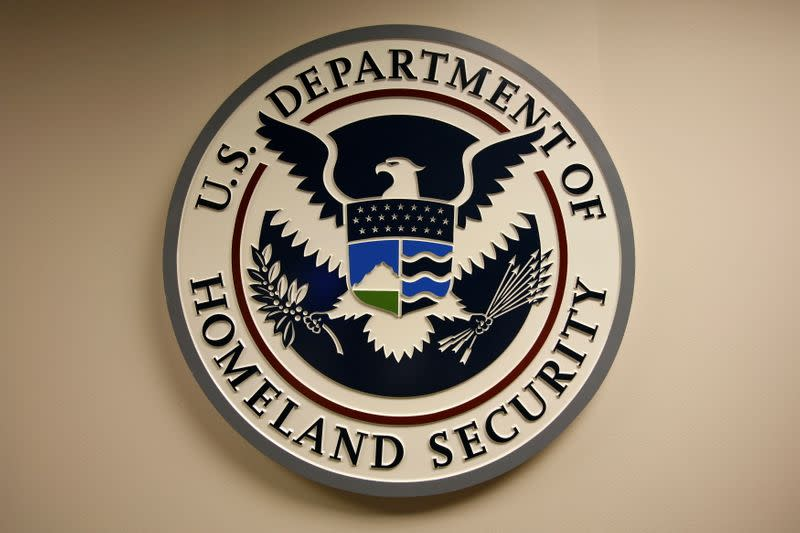 FILE PHOTO: U.S. Department of Homeland Security emblem is pictured at the National Cybersecurity & Communications Integration Center in Arlington Virginia
