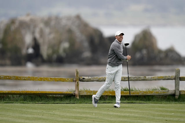 Rory McIlroy, of Northern Ireland, reacts to his drive on the 18th hole during the second round of the U.S. Open golf tournament Friday, June 14, 2019, in Pebble Beach, Calif. (AP Photo/David J. Phillip)