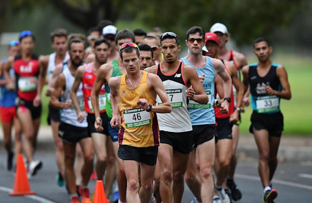 Racewalking might not sound like much, but the event has a storied history in discipline and long distance. There are only two rules to this sport: The back toe must not leave the ground and the supporting leg must remain straight.