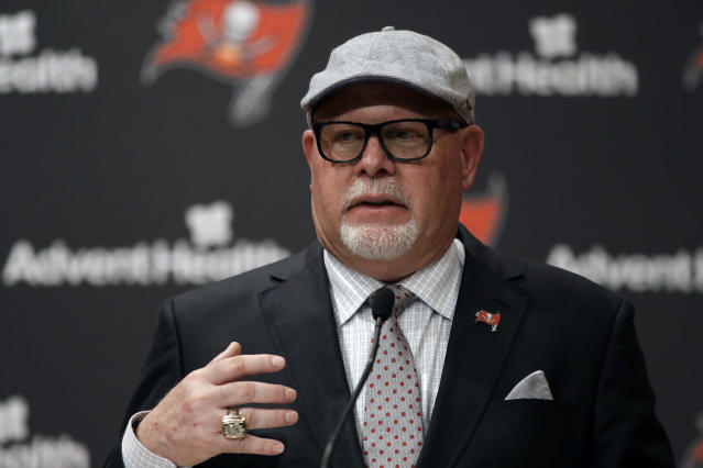New Tampa Bay Buccaneers head coach Bruce Arians gestures as he is introduced during a news conference Thursday, Jan. 10, 2019, in Tampa, Fla. (AP Photo/Chris O'Meara)