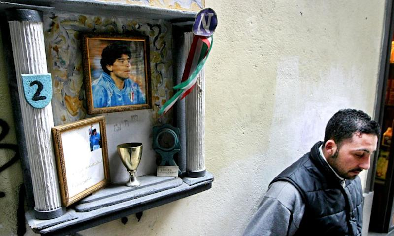 A makeshift shrine in Naples in 2004, after Maradona was hospitalised with heart problems.