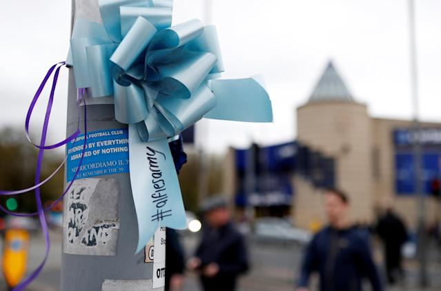 """Soccer Football - Premier League - Everton v Newcastle United - Goodison Park, Liverpool, Britain - April 23, 2018 General view of a message of support for Alfie Evans outside the stadium Action Images via Reuters/Lee Smith EDITORIAL USE ONLY. No use with unauthorized audio, video, data, fixture lists, club/league logos or """"live"""" services. Online in-match use limited to 75 images, no video emulation. No use in betting, games or single club/league/player publications. Please contact your account representative for further details."""