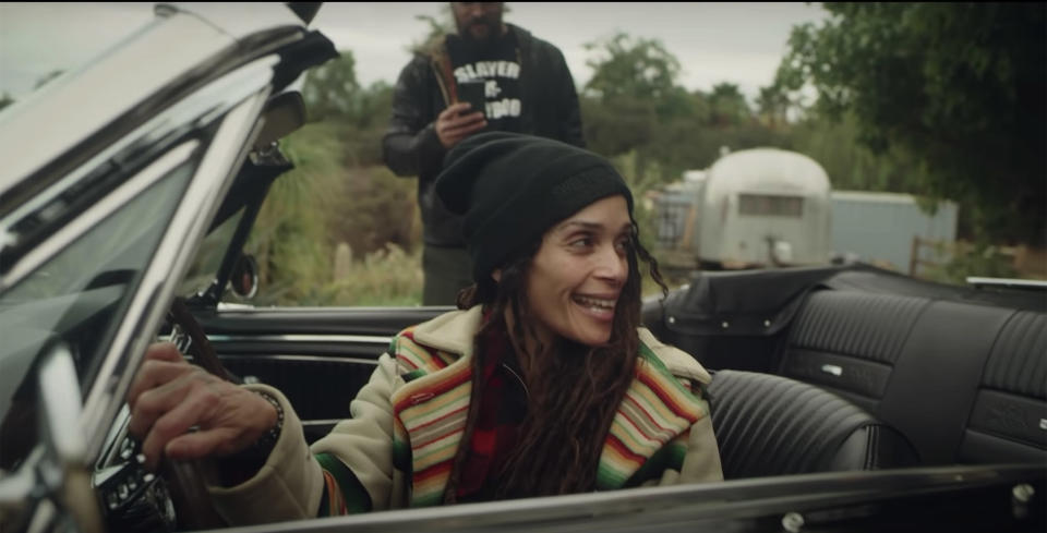 Bonet rejoices at the sight of her restored Mustang. (Jason Momoa / YouTube)