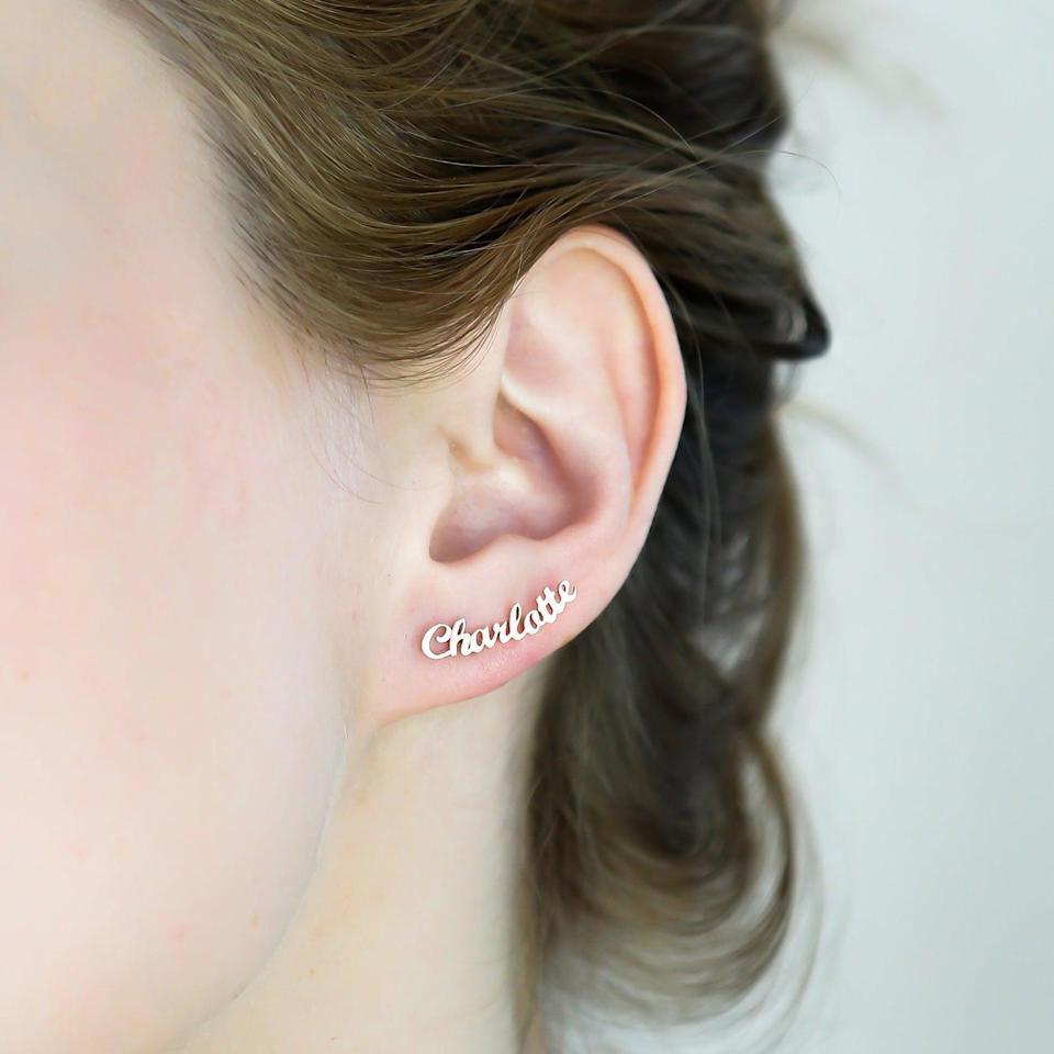 <p>These <span>Caitlyn Minimalist Name Earrings</span> ($20, originally $27) will definitely stand out.</p>