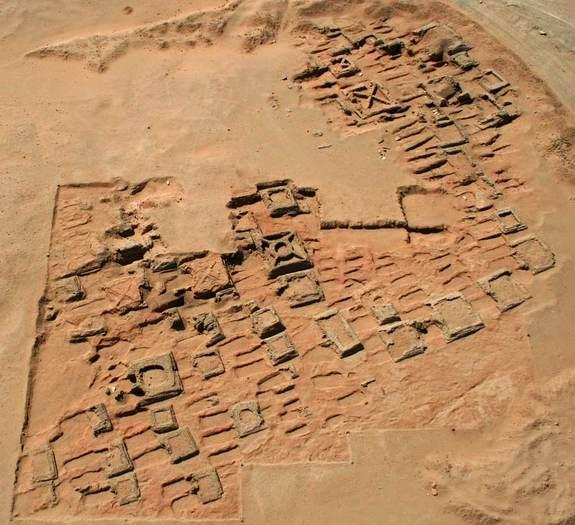 This aerial photo shows a series of pyramids and graves that a team of archaeologists has been exploring at Sedeinga in Sudan. Since 2009 they have discovered at least 35 small pyramids at the site, the largest being 22 feet (7 meters) in width