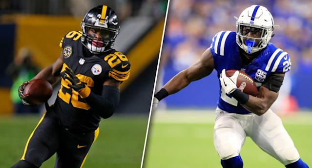 Where will Le'Veon Bell land? (Photos by Justin K. Aller/Andy Lyons/Getty Images)