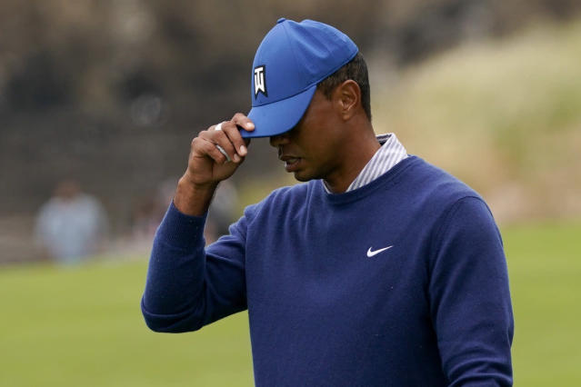 Tiger Woods reacts on the ninth hole after his second round in the U.S. Open Championship golf tournament, Friday, June 14, 2019, in Pebble Beach, Calif. (AP Photo/Carolyn Kaster)