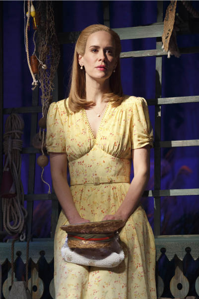 """This theater image released by Polk & Co. shows Sarah Paulson during a performance of Lanford Wilson's Pulitzer Prize-winning """"Talley's Folly,"""" in New York. Set on the 4th of July near the end of World War II, """"Talley's Folly"""" is the story of an unlikely middle-age romance between two people trying to overcome their emotional baggage and find love. (AP Photo/Polk & Co., Joan Marcus)"""