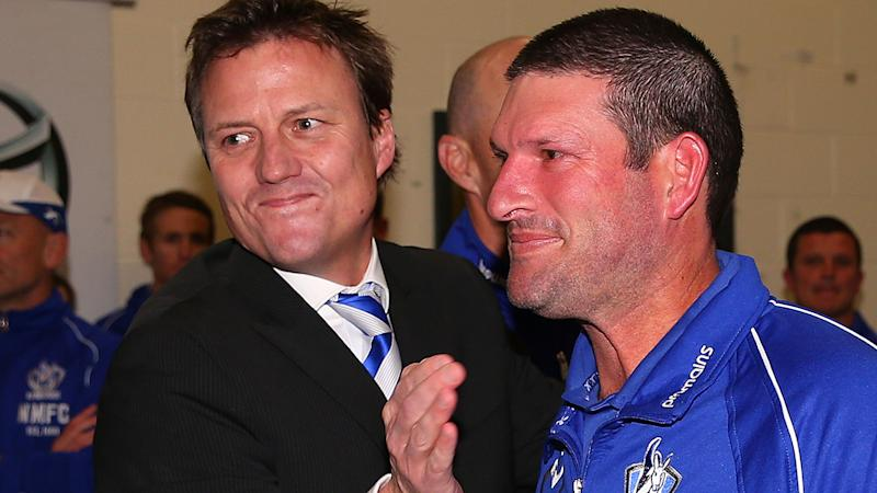 James Brayshaw, pictured here with North Melbourne assistant coach Brett Allison in 2013.